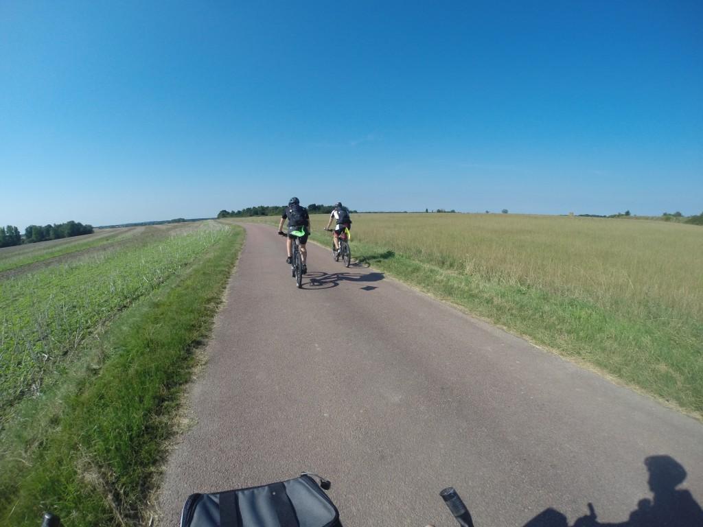 Route tranquille dans les champs